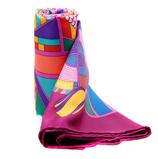 爱马仕紫色系几何图案90丝巾